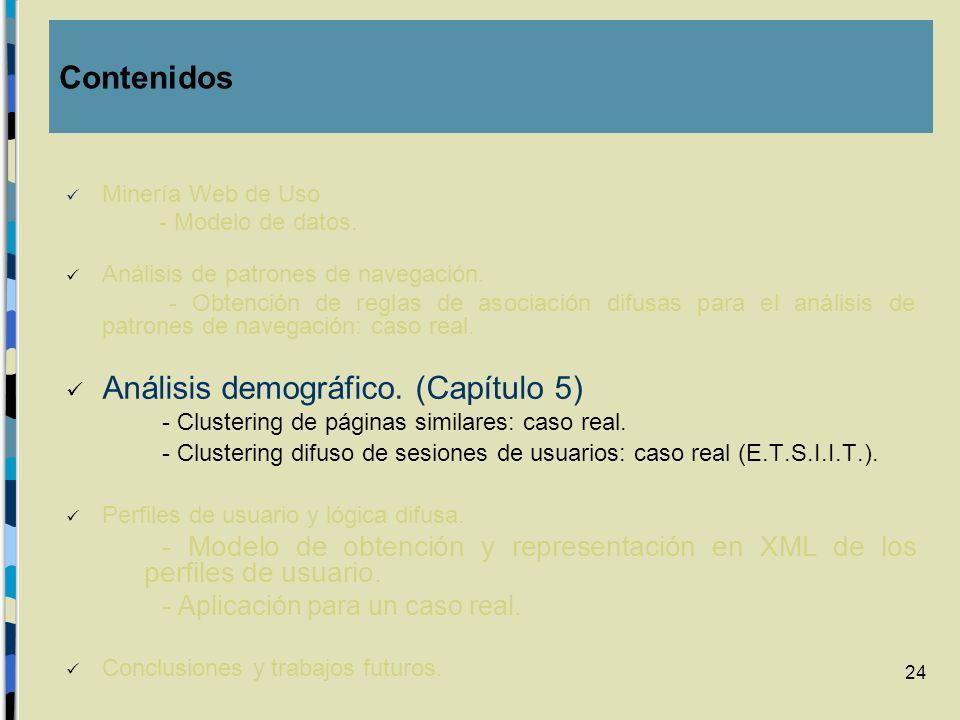 24 Minería Web de Uso - Modelo de datos. Análisis de patrones de navegación. - Obtención de reglas de asociación difusas para el análisis de patrones