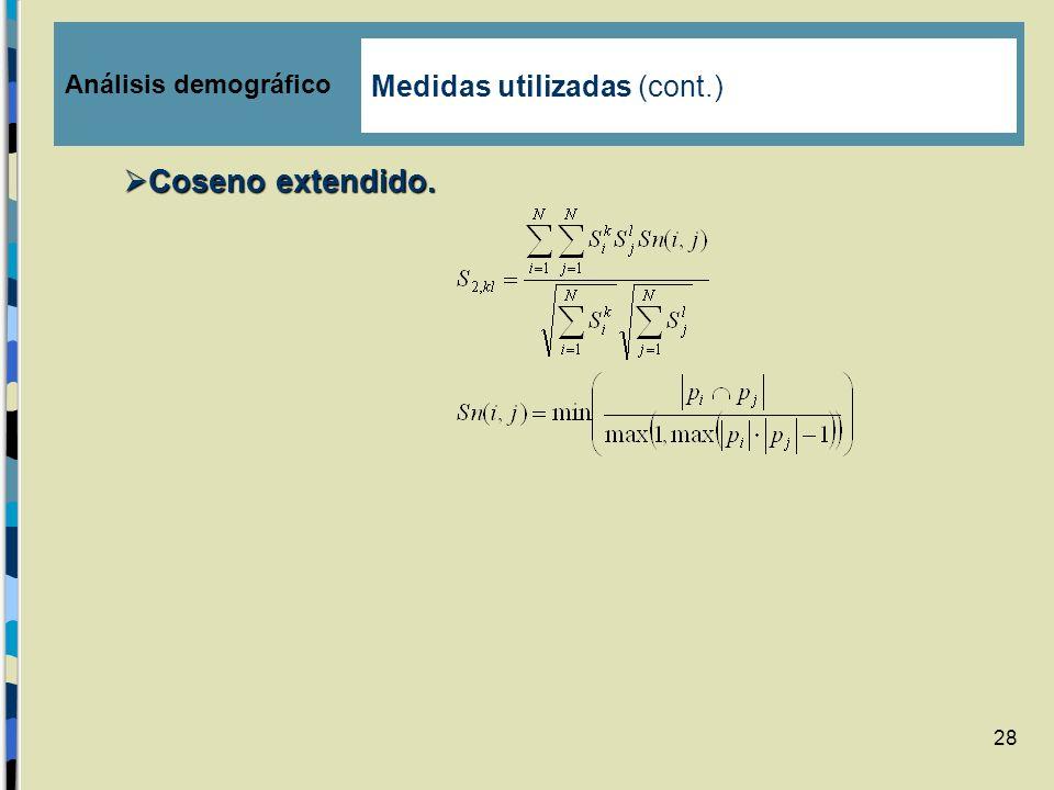 28 Coseno extendido. Coseno extendido. Análisis demográfico Medidas utilizadas (cont.)