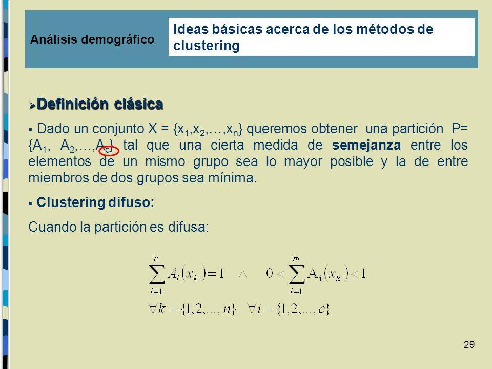 29 Definición clásica Definición clásica Dado un conjunto X = {x 1,x 2,…,x n } queremos obtener una partición P= {A 1, A 2,…,A c } tal que una cierta