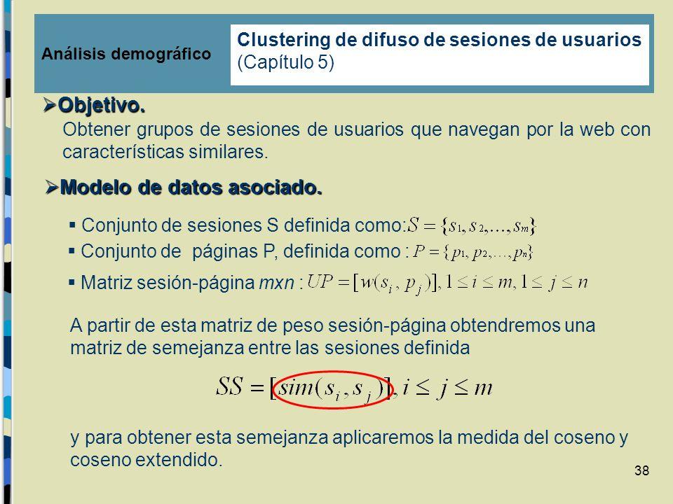 38 A partir de esta matriz de peso sesión-página obtendremos una matriz de semejanza entre las sesiones definida y para obtener esta semejanza aplicar