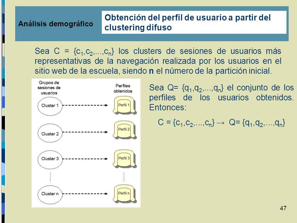 47 Sea C = {c 1,c 2,...,c n } los clusters de sesiones de usuarios más representativas de la navegación realizada por los usuarios en el sitio web de