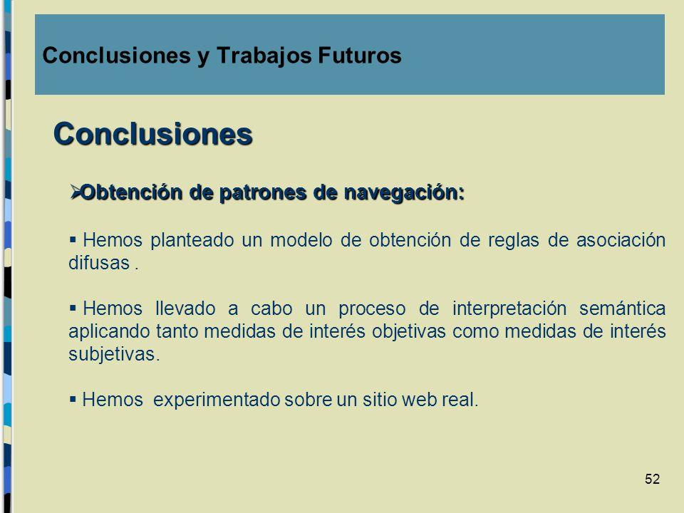 52 Obtención de patrones de navegación: Obtención de patrones de navegación: Hemos planteado un modelo de obtención de reglas de asociación difusas. H