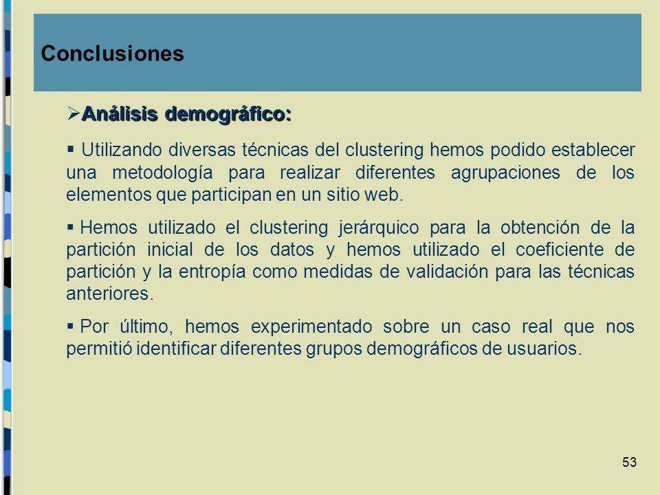 53 Análisis demográfico: Utilizando diversas técnicas del clustering hemos podido establecer una metodología para realizar diferentes agrupaciones de