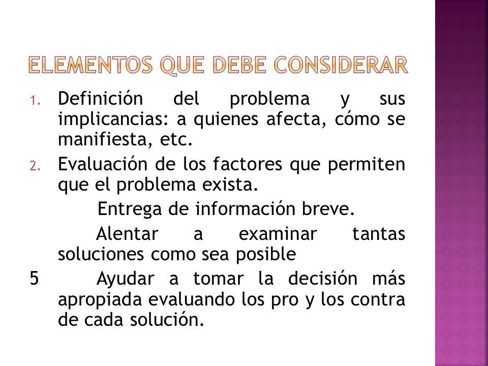 1. Definición del problema y sus implicancias: a quienes afecta, cómo se manifiesta, etc. 2. Evaluación de los factores que permiten que el problema e