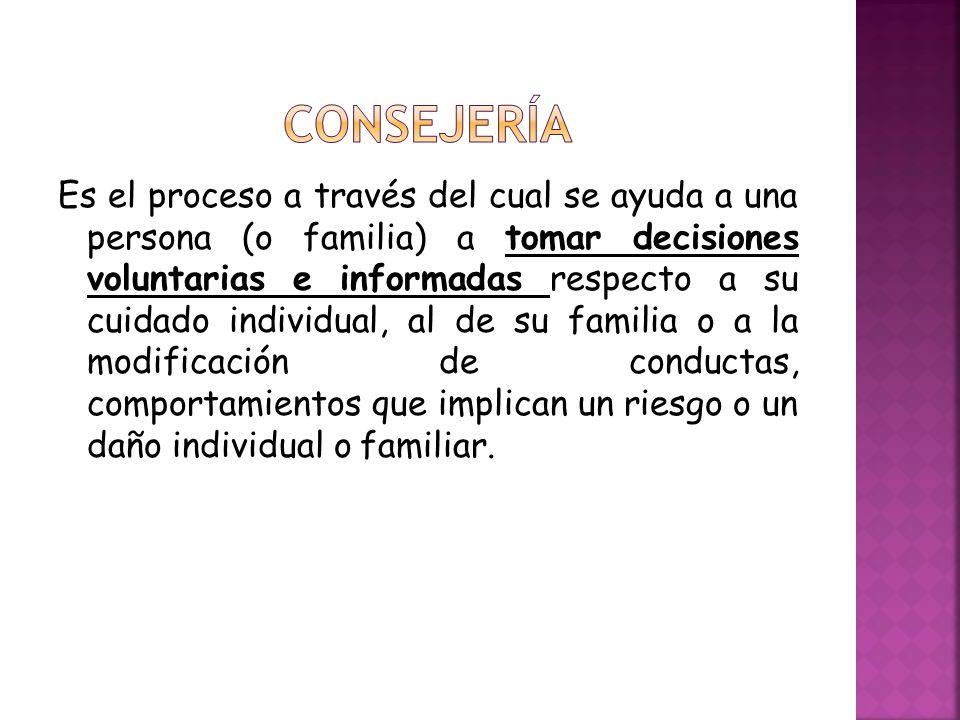 Es el proceso a través del cual se ayuda a una persona (o familia) a tomar decisiones voluntarias e informadas respecto a su cuidado individual, al de