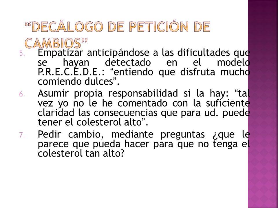 5. Empatizar anticip á ndose a las dificultades que se hayan detectado en el modelo P.R.E.C.E.D.E.: entiendo que disfruta mucho comiendo dulces. 6. As