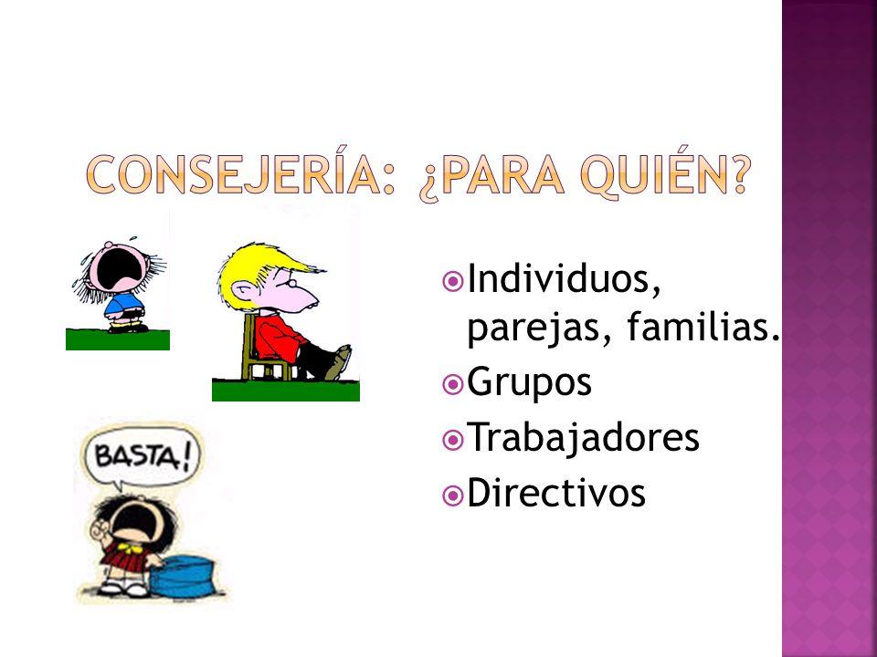 Individuos, parejas, familias. Grupos Trabajadores Directivos