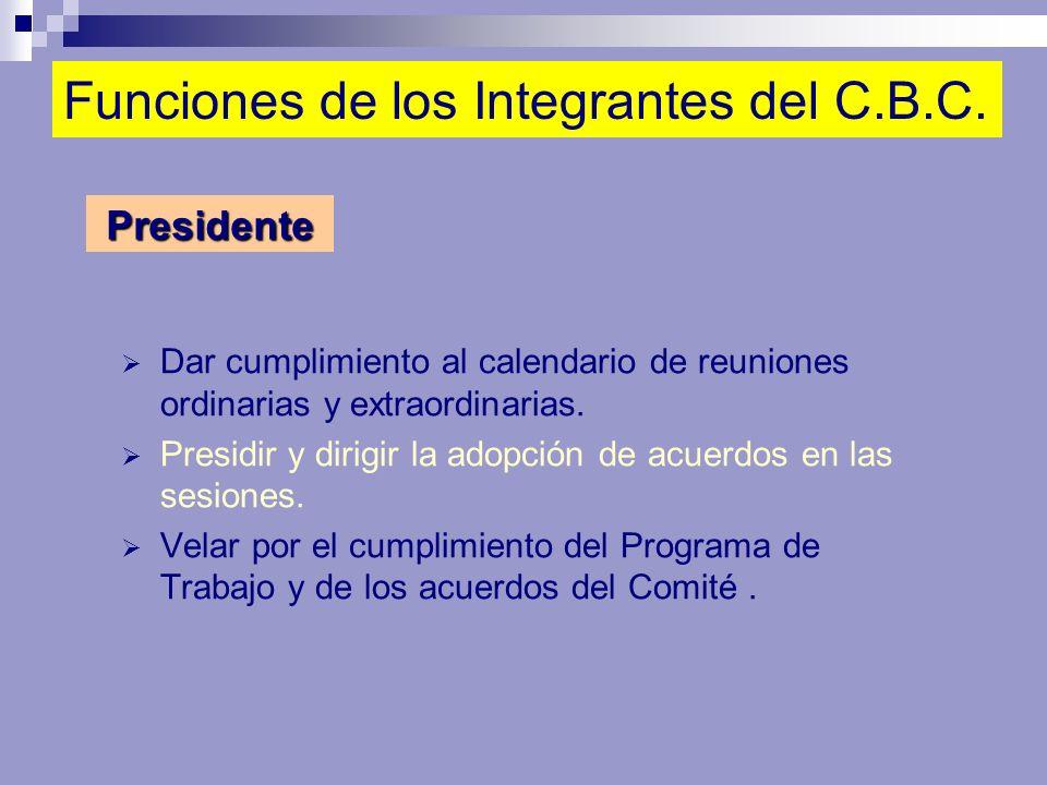 Funciones de los Integrantes del C.B.C. Dar cumplimiento al calendario de reuniones ordinarias y extraordinarias. Presidir y dirigir la adopción de ac