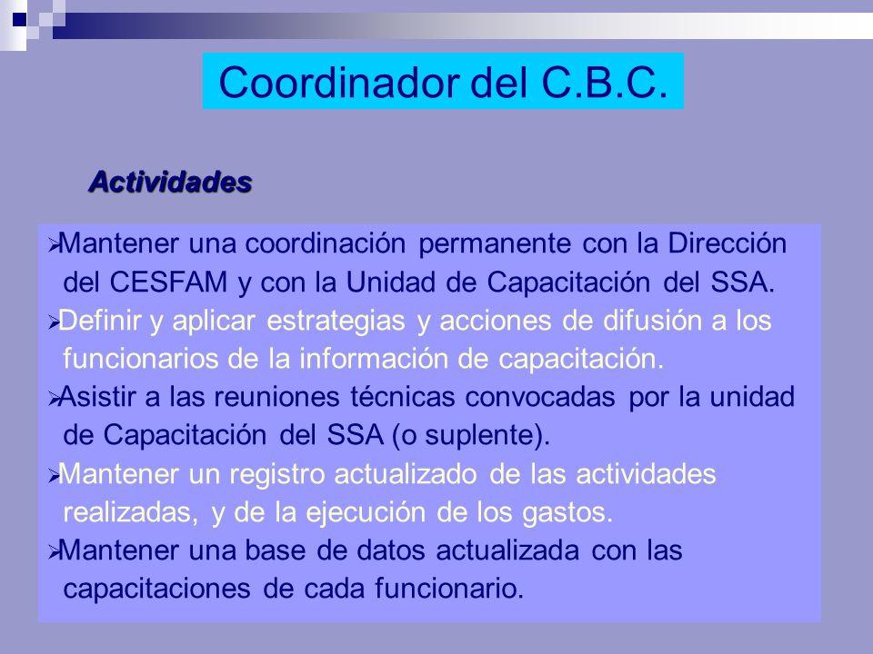 Actividades Mantener una coordinación permanente con la Dirección del CESFAM y con la Unidad de Capacitación del SSA. Definir y aplicar estrategias y