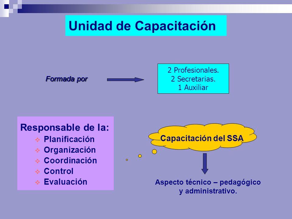 Unidad de Capacitación Responsable de la: Planificación Organización Coordinación Control Evaluación 2 Profesionales. 2 Secretarias. 1 Auxiliar Formad