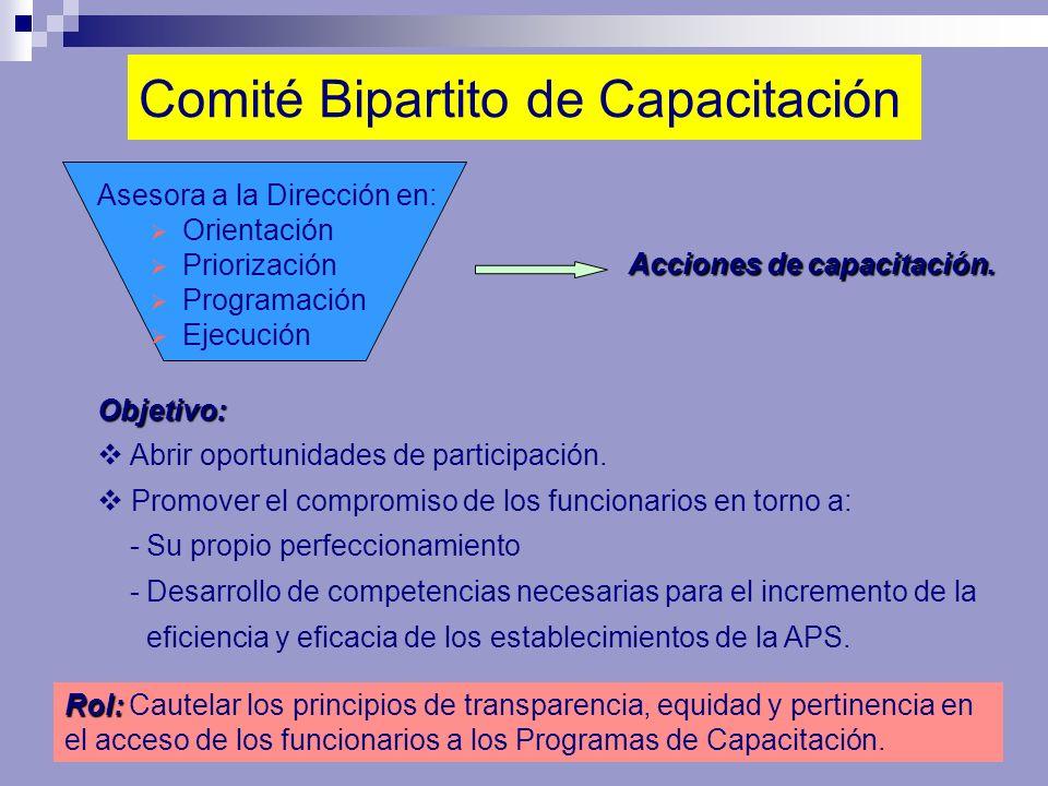 Comité Bipartito de Capacitación Asesora a la Dirección en: Orientación Priorización Programación Ejecución Objetivo: Abrir oportunidades de participa