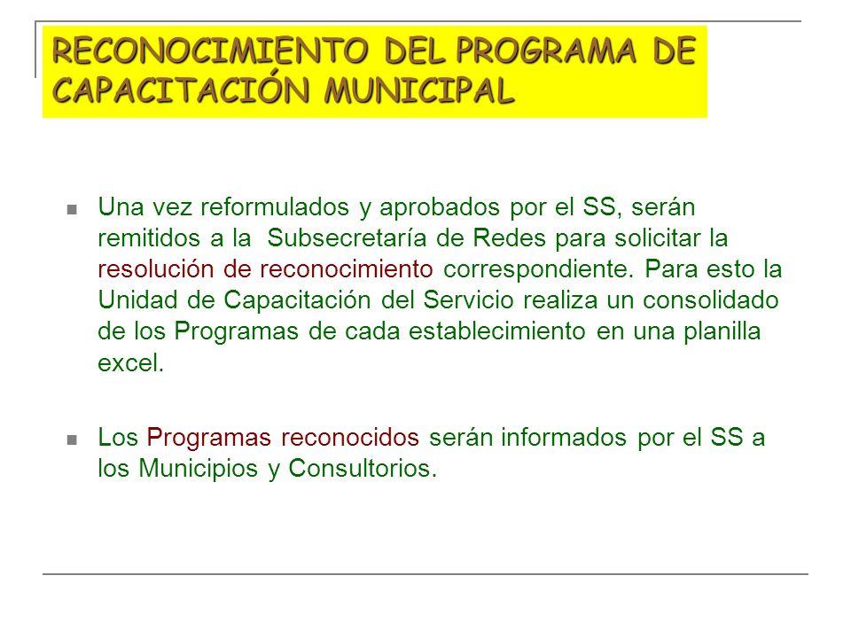 RECONOCIMIENTO DEL PROGRAMA DE CAPACITACIÓN MUNICIPAL Una vez reformulados y aprobados por el SS, serán remitidos a la Subsecretaría de Redes para sol