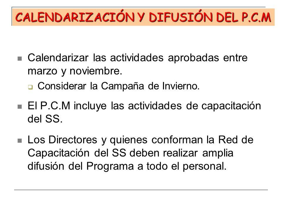 CALENDARIZACIÓN Y DIFUSIÓN DEL P.C.M Calendarizar las actividades aprobadas entre marzo y noviembre. Considerar la Campaña de Invierno. El P.C.M inclu