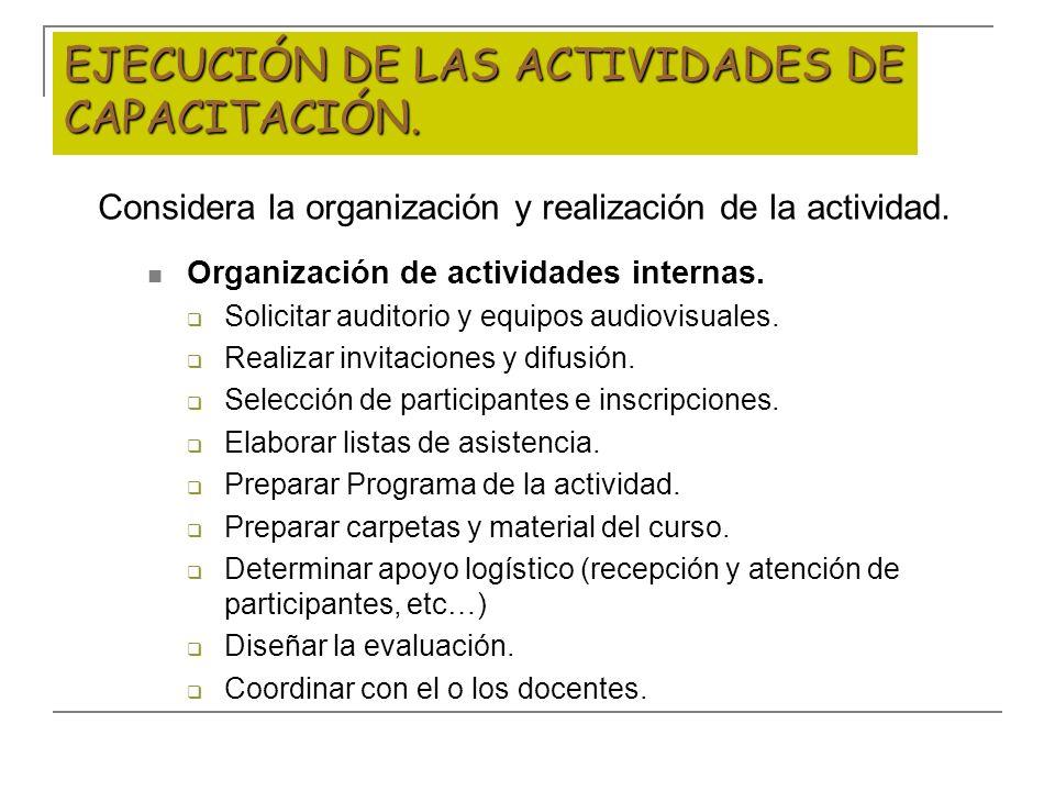 EJECUCIÓN DE LAS ACTIVIDADES DE CAPACITACIÓN. Considera la organización y realización de la actividad. Organización de actividades internas. Solicitar