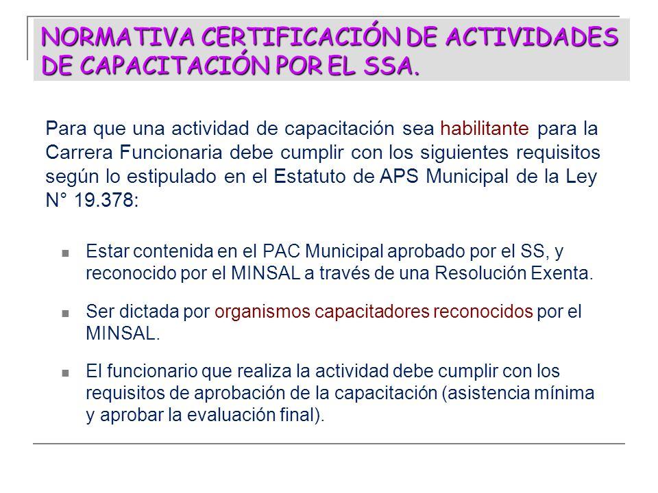 NORMATIVA CERTIFICACIÓN DE ACTIVIDADES DE CAPACITACIÓN POR EL SSA. Estar contenida en el PAC Municipal aprobado por el SS, y reconocido por el MINSAL