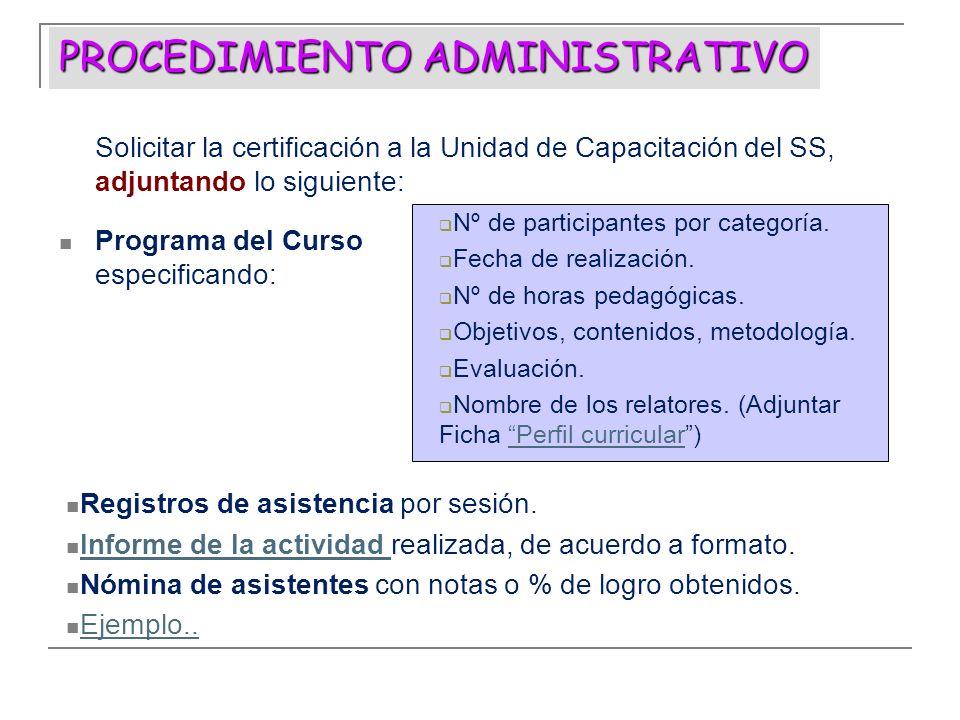 PROCEDIMIENTO ADMINISTRATIVO Solicitar la certificación a la Unidad de Capacitación del SS, adjuntando lo siguiente: Programa del Curso especificando:
