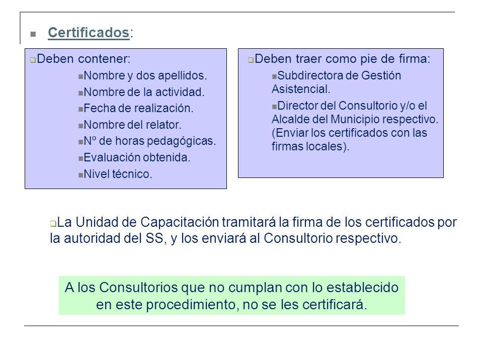 Certificados: Certificados Deben contener: Nombre y dos apellidos. Nombre de la actividad. Fecha de realización. Nombre del relator. Nº de horas pedag