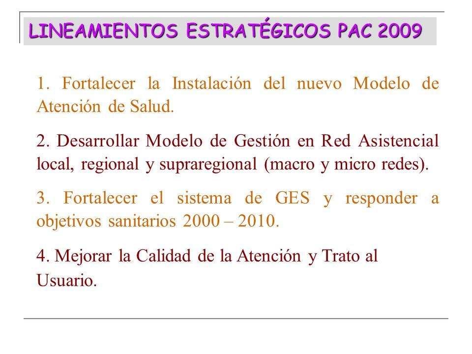 1. Fortalecer la Instalación del nuevo Modelo de Atención de Salud. 2. Desarrollar Modelo de Gestión en Red Asistencial local, regional y supraregiona
