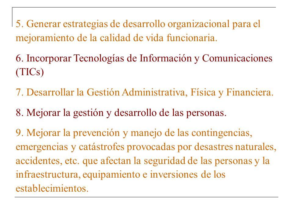 5. Generar estrategias de desarrollo organizacional para el mejoramiento de la calidad de vida funcionaria. 6. Incorporar Tecnologías de Información y