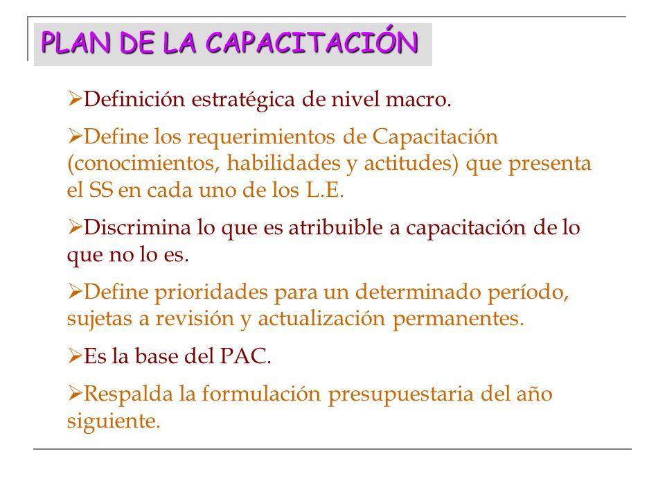PLAN DE LA CAPACITACIÓN Definición estratégica de nivel macro. Define los requerimientos de Capacitación (conocimientos, habilidades y actitudes) que