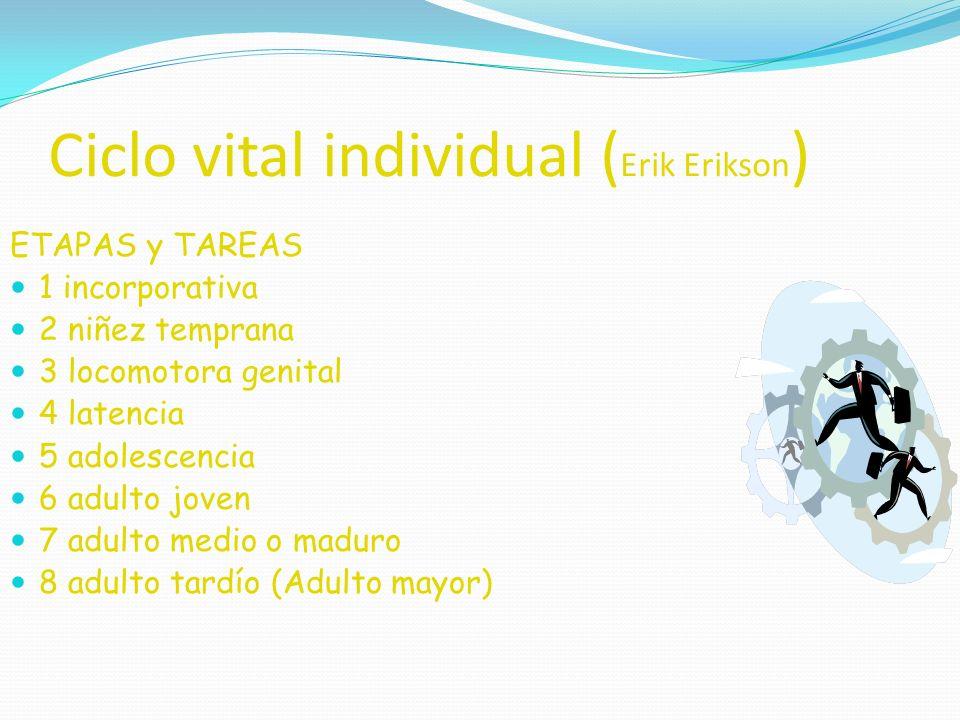 Ciclo vital individual ( Erik Erikson ) ETAPAS y TAREAS 1 incorporativa 2 niñez temprana 3 locomotora genital 4 latencia 5 adolescencia 6 adulto joven 7 adulto medio o maduro 8 adulto tardío (Adulto mayor)