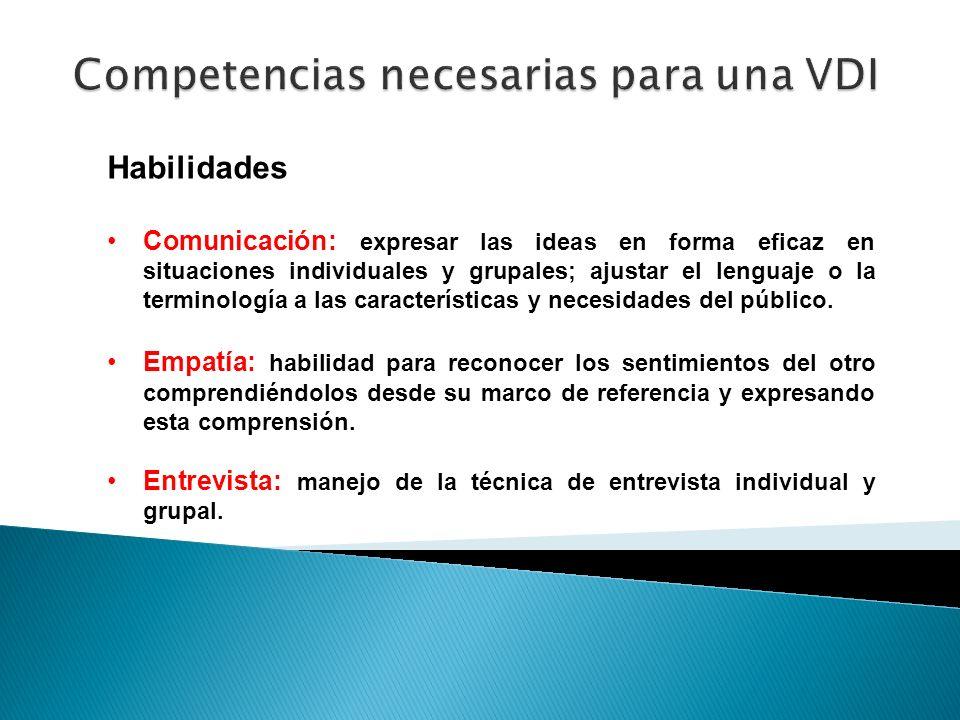 Habilidades Comunicación: expresar las ideas en forma eficaz en situaciones individuales y grupales; ajustar el lenguaje o la terminología a las carac