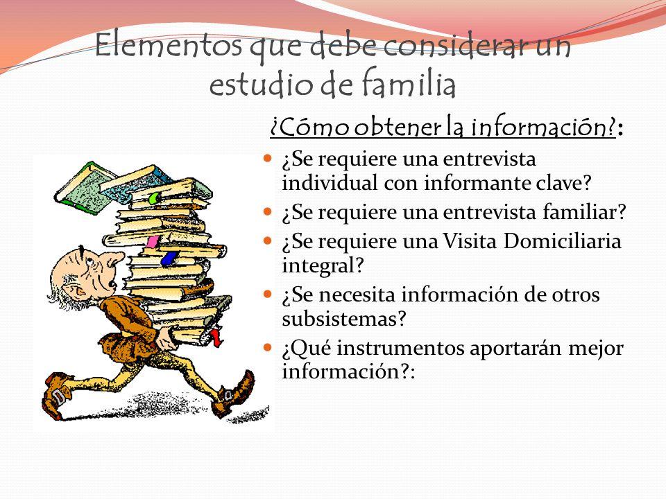 Elementos que debe considerar un estudio de familia ¿Cómo obtener la información? : ¿Se requiere una entrevista individual con informante clave? ¿Se r