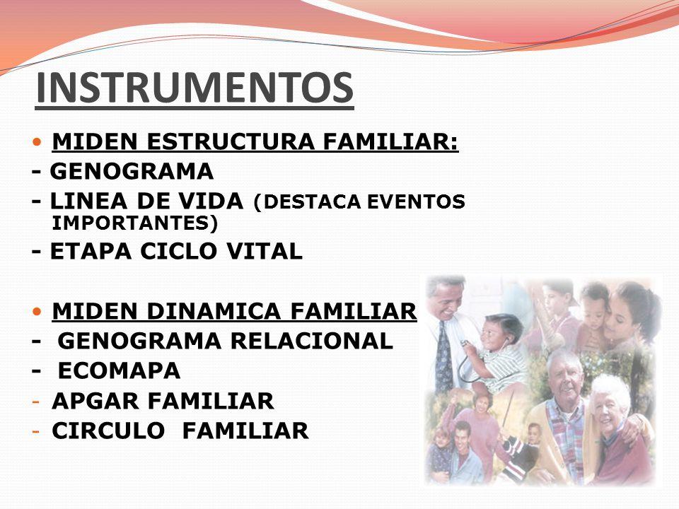 INSTRUMENTOS MIDEN ESTRUCTURA FAMILIAR: - GENOGRAMA - LINEA DE VIDA (DESTACA EVENTOS IMPORTANTES) - ETAPA CICLO VITAL MIDEN DINAMICA FAMILIAR - GENOGR