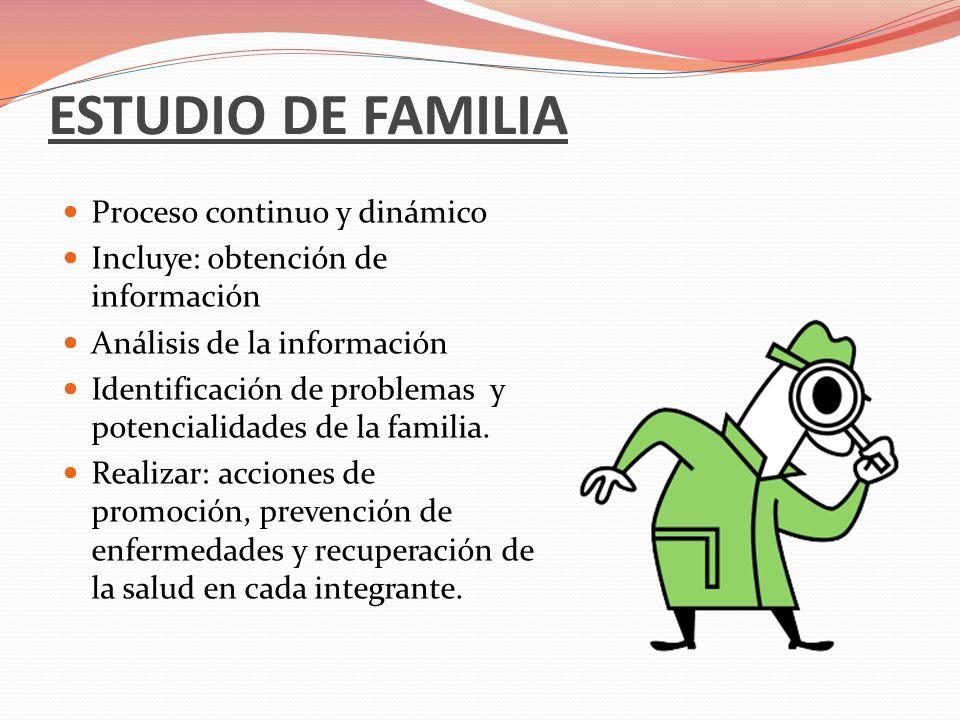 ESTUDIO DE FAMILIA Proceso continuo y dinámico Incluye: obtención de información Análisis de la información Identificación de problemas y potencialida