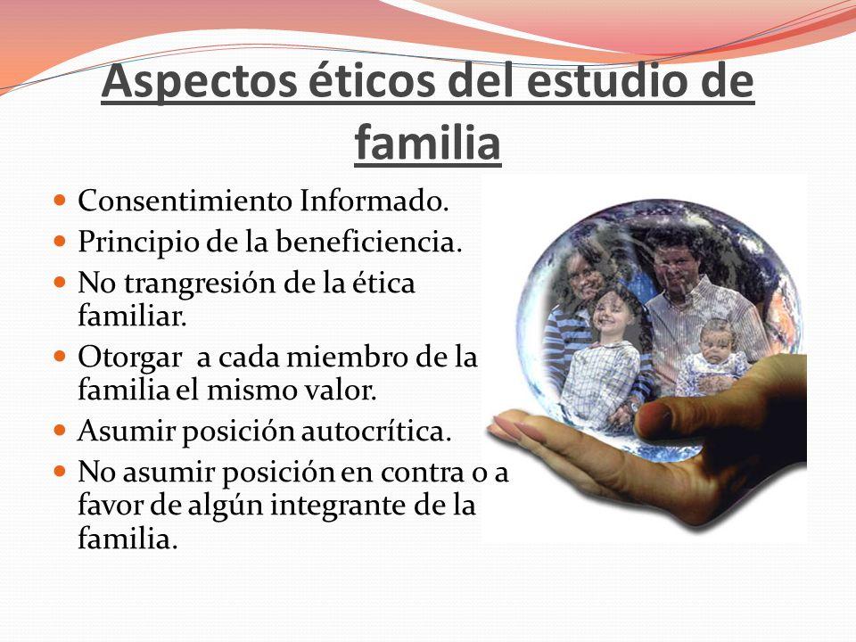 Aspectos éticos del estudio de familia Consentimiento Informado. Principio de la beneficiencia. No trangresión de la ética familiar. Otorgar a cada mi