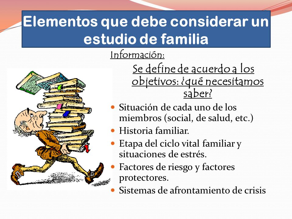 Elementos que debe considerar un estudio de familia Información: Se define de acuerdo a los objetivos: ¿qué necesitamos saber? Situación de cada uno d