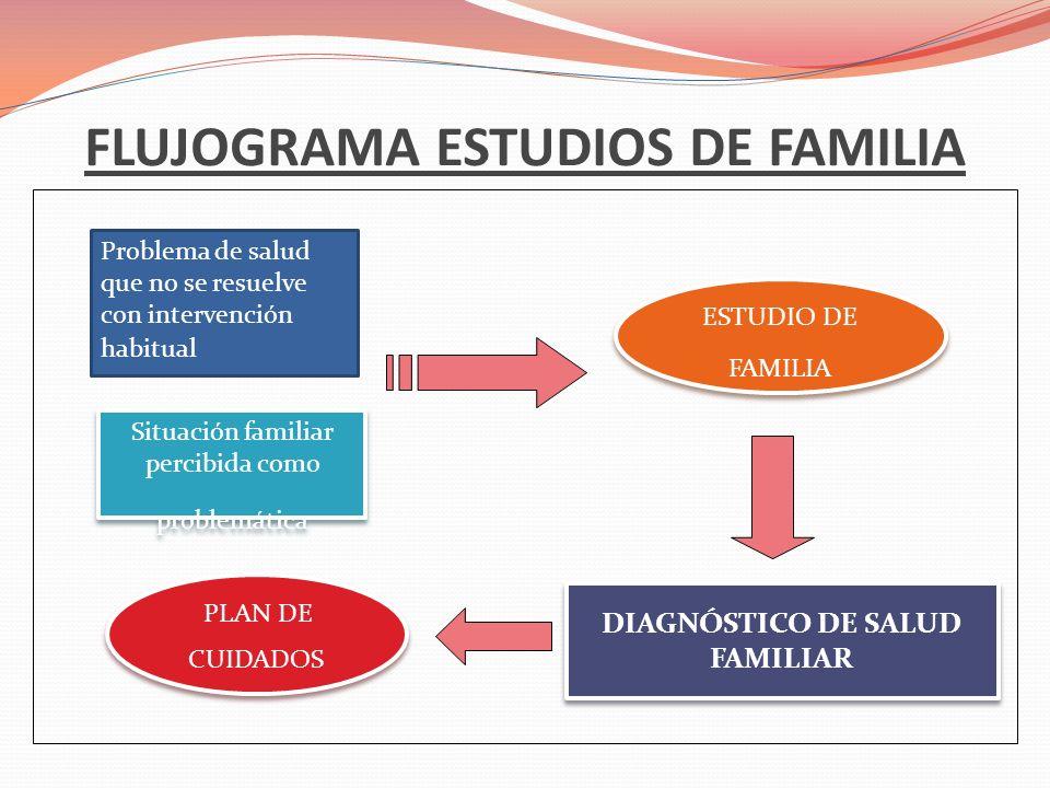 FLUJOGRAMA ESTUDIOS DE FAMILIA Problema de salud que no se resuelve con intervención habitual Situación familiar percibida como problemática ESTUDIO D