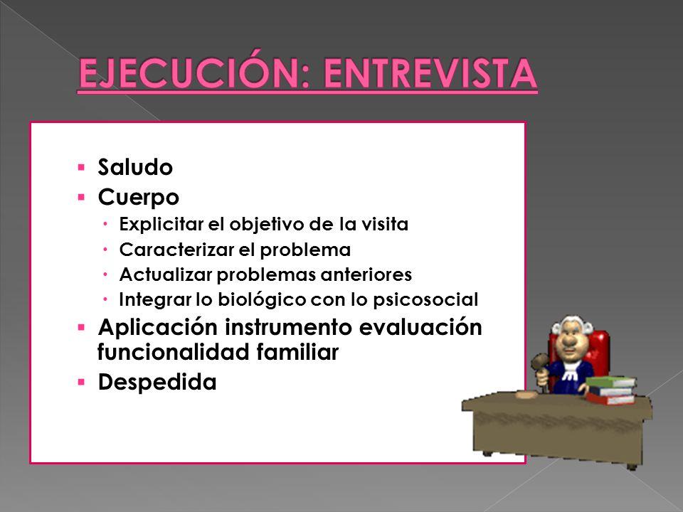 Saludo Cuerpo Explicitar el objetivo de la visita Caracterizar el problema Actualizar problemas anteriores Integrar lo biológico con lo psicosocial Ap
