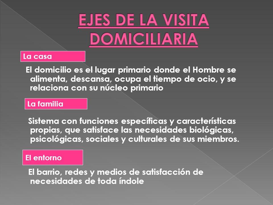 Conocer y evaluar las características de la funcionalidad familiar: su rol como unidad de cuidado Conocer el hogar y el entorno Detectar necesidades y recursos de la familia Identificar y valorar las redes del grupo familiar y caso índice.