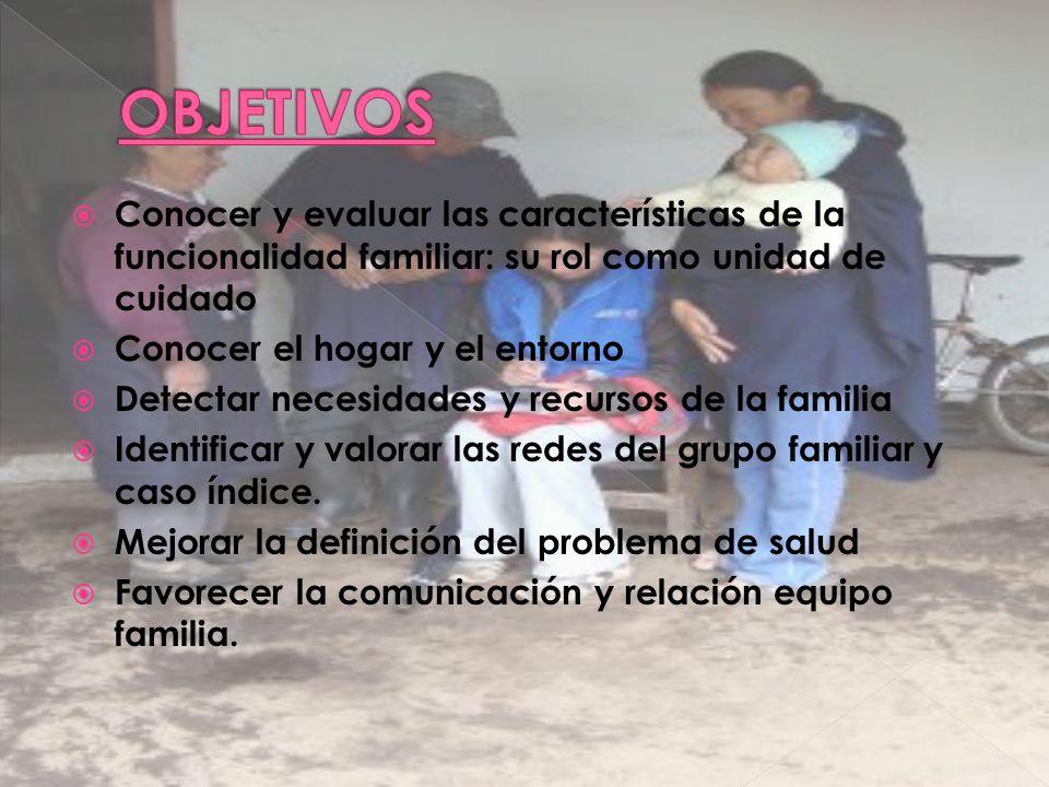 Conocer y evaluar las características de la funcionalidad familiar: su rol como unidad de cuidado Conocer el hogar y el entorno Detectar necesidades y