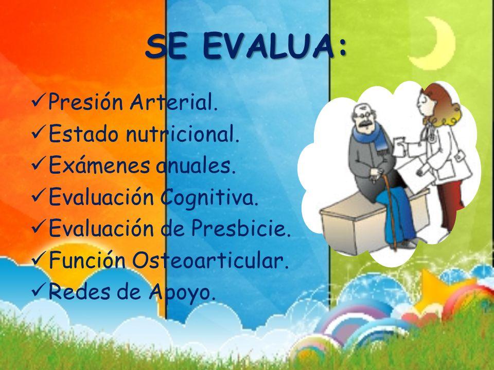 SE EVALUA: Presión Arterial. Estado nutricional. Exámenes anuales. Evaluación Cognitiva. Evaluación de Presbicie. Función Osteoarticular. Redes de Apo