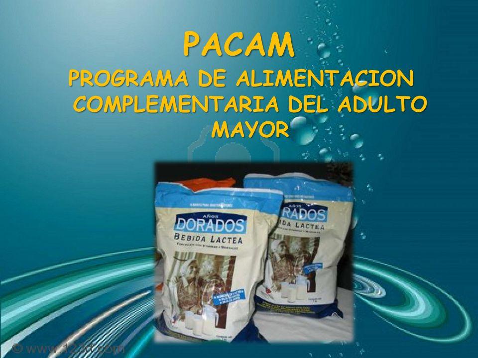PACAM PACAM Actividades de apoyo alimentario-nutricional de carácter preventivo y curativo, a través de las cuales se distribuye un alimento fortificado con micronutrientes a los adultos mayores, en los Establecimientos de APS.