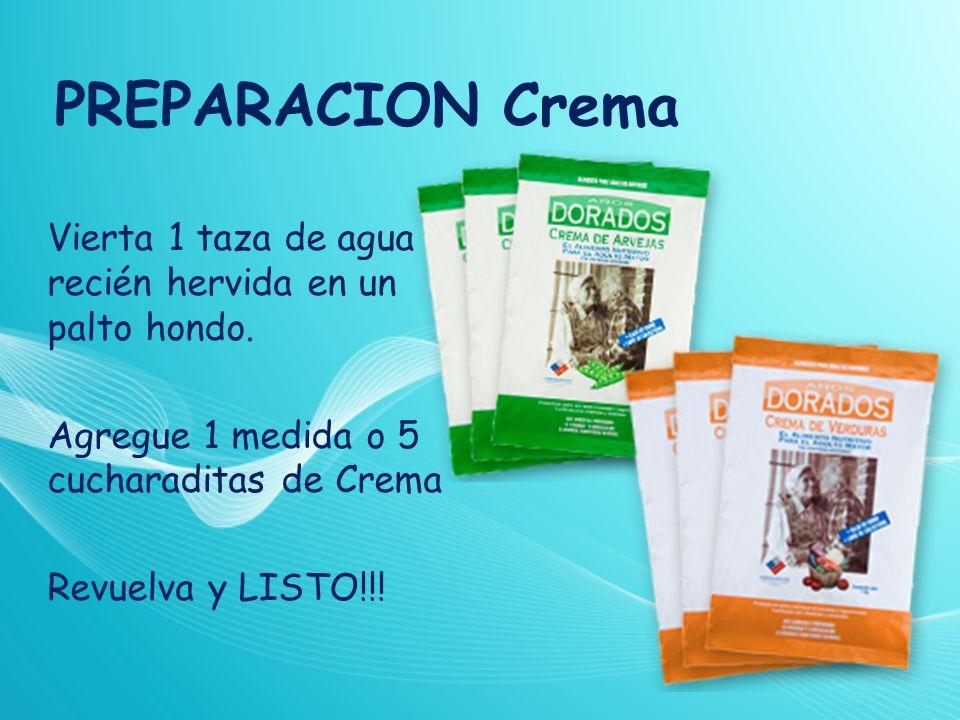 PREPARACION Crema Vierta 1 taza de agua recién hervida en un palto hondo. Agregue 1 medida o 5 cucharaditas de Crema Revuelva y LISTO!!!