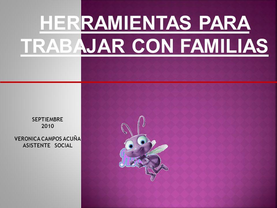 HERRAMIENTAS PARA TRABAJAR CON FAMILIAS SEPTIEMBRE 2010 VERONICA CAMPOS ACUÑA ASISTENTE SOCIAL