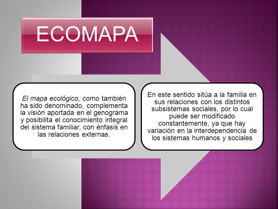 El mapa ecológico, como también ha sido denominado, complementa la visión aportada en el genograma y posibilita el conocimiento integral del sistema f