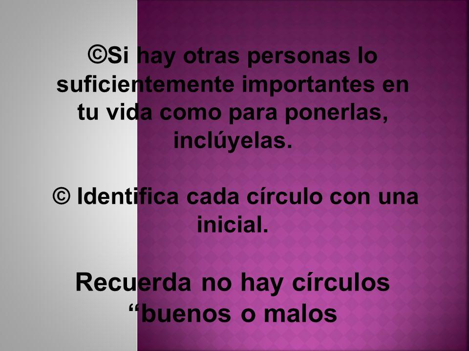 © Si hay otras personas lo suficientemente importantes en tu vida como para ponerlas, inclúyelas. © Identifica cada círculo con una inicial. Recuerda