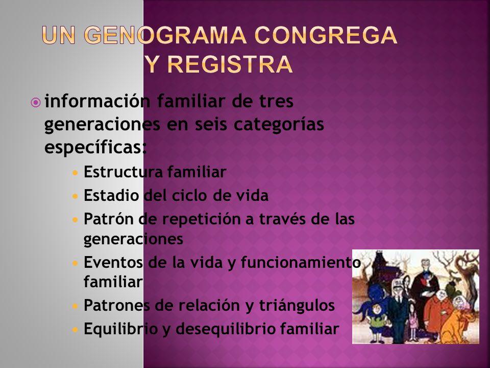 información familiar de tres generaciones en seis categorías específicas: Estructura familiar Estadio del ciclo de vida Patrón de repetición a través
