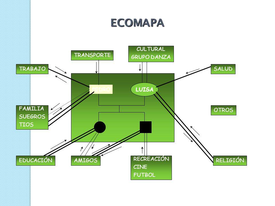 ECOMAPA VENTAJAS: Complementa la visión aportada por el genograma, posibilitando un conocimiento integral del sistema familiar. Explora áreas no traba