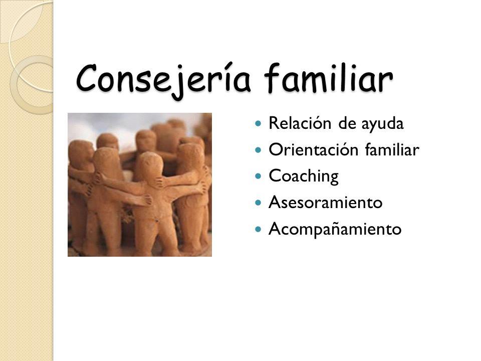 Consejería familiar Relación de ayuda Orientación familiar Coaching Asesoramiento Acompañamiento