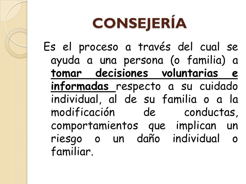 CONSEJERÍA Es el proceso a través del cual se ayuda a una persona (o familia) a tomar decisiones voluntarias e informadas respecto a su cuidado indivi