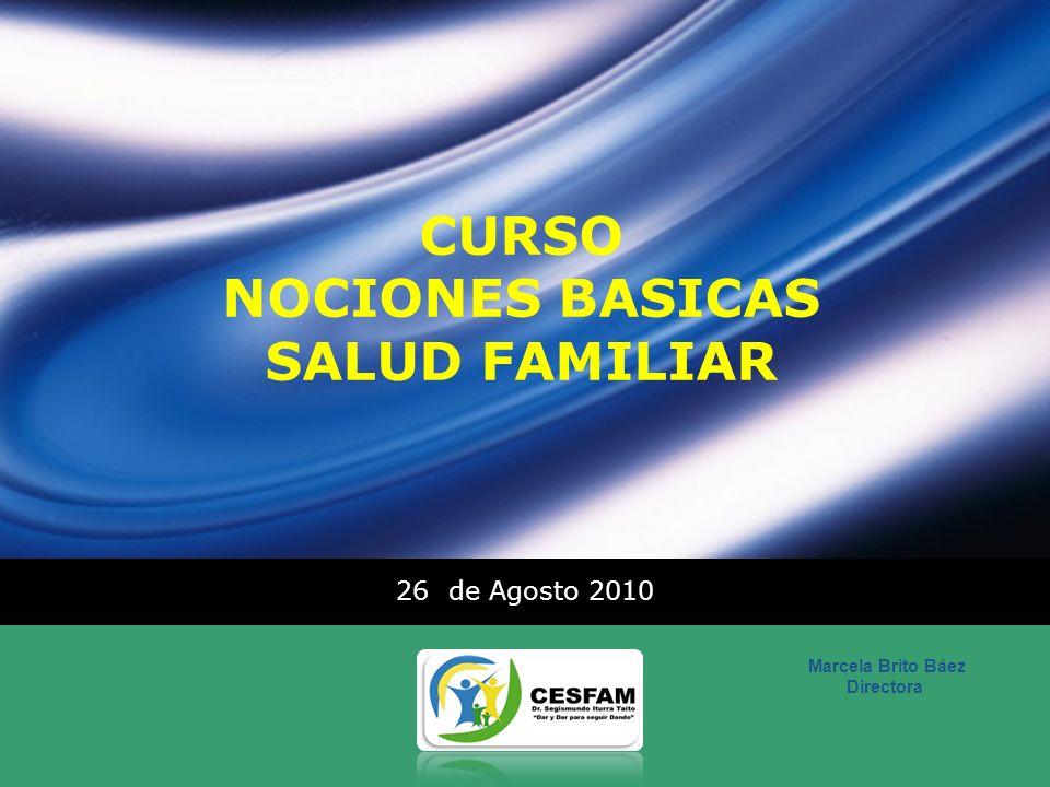 LOGO CURSO NOCIONES BASICAS SALUD FAMILIAR 26 de Agosto 2010 Marcela Brito Báez Directora