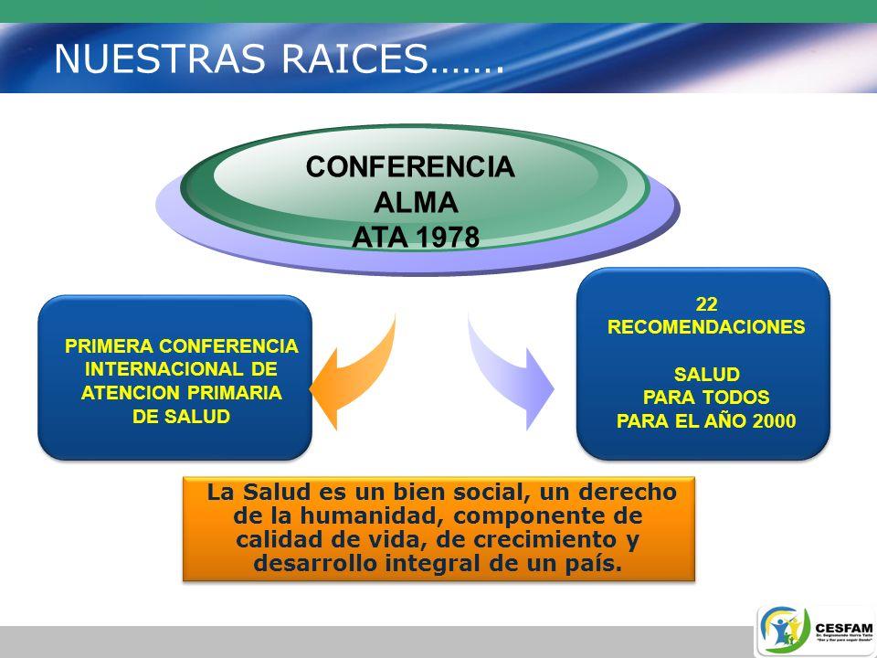 NUESTRAS RAICES……. CONFERENCIA ALMA ATA 1978 22 RECOMENDACIONES SALUD PARA TODOS PARA EL AÑO 2000 PRIMERA CONFERENCIA INTERNACIONAL DE ATENCION PRIMAR
