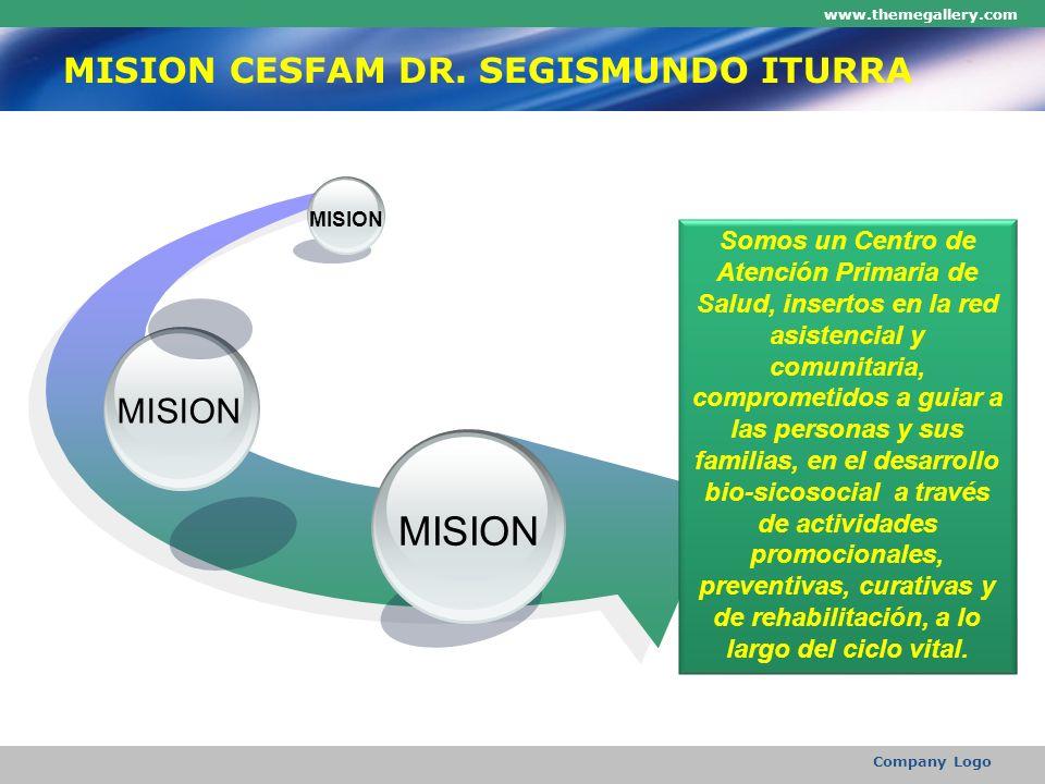 www.themegallery.com Company Logo MISION CESFAM DR. SEGISMUNDO ITURRA MISION Somos un Centro de Atención Primaria de Salud, insertos en la red asisten