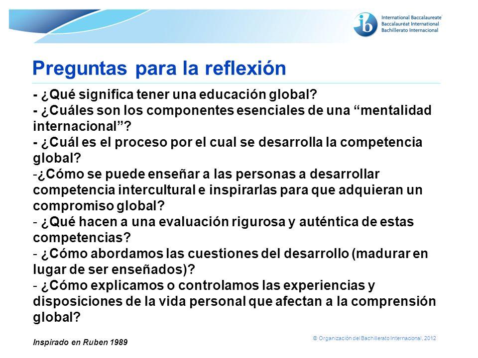 © Organización del Bachillerato Internacional, 2012 - ¿Qué significa tener una educación global? - ¿Cuáles son los componentes esenciales de una menta