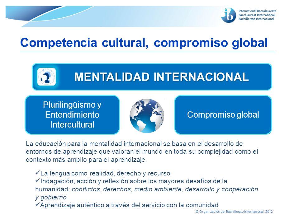 © Organización del Bachillerato Internacional, 2012 La educación para la mentalidad internacional se basa en el desarrollo de entornos de aprendizaje